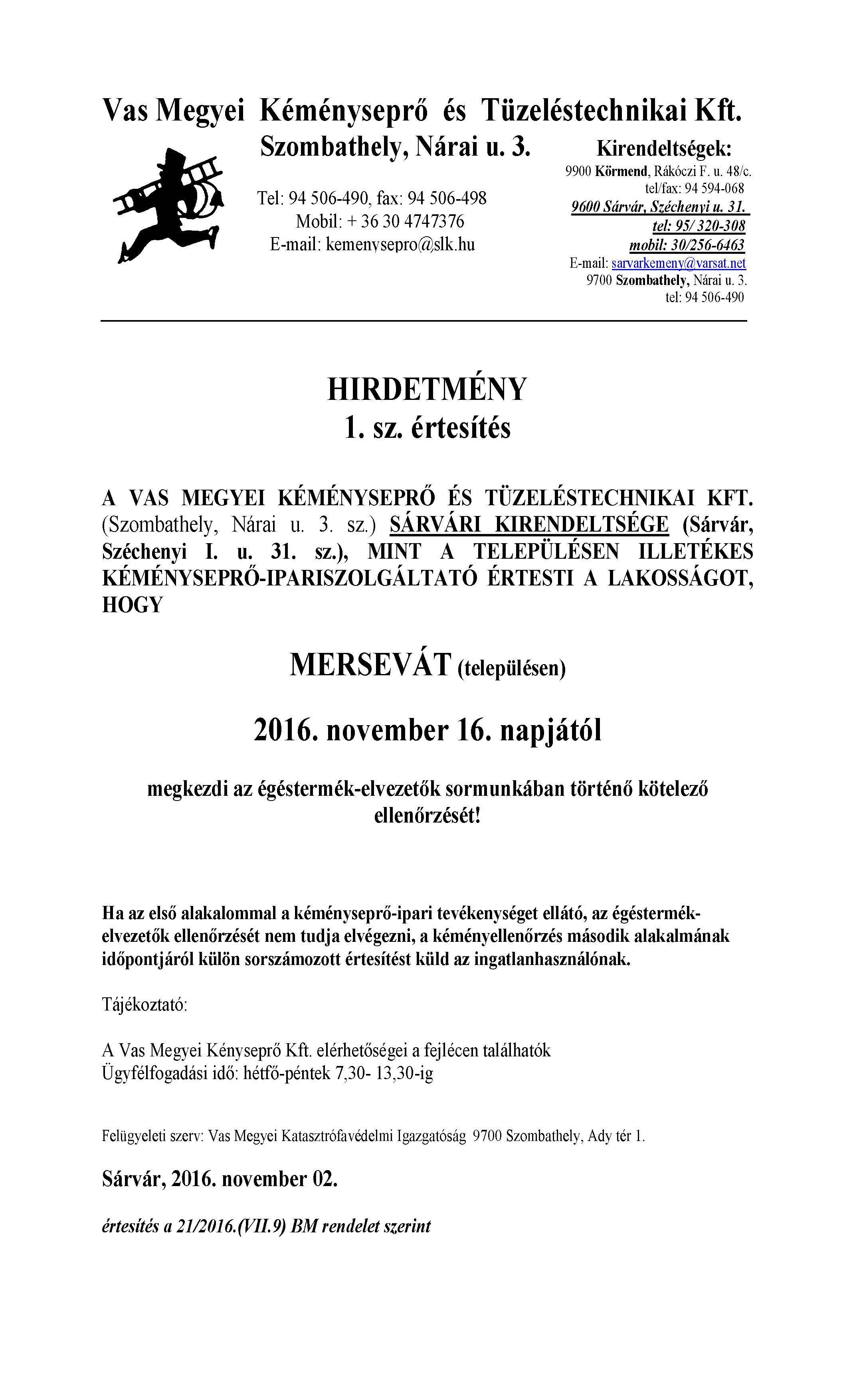 Kéményseprő-ipariszolgáltató értesítése
